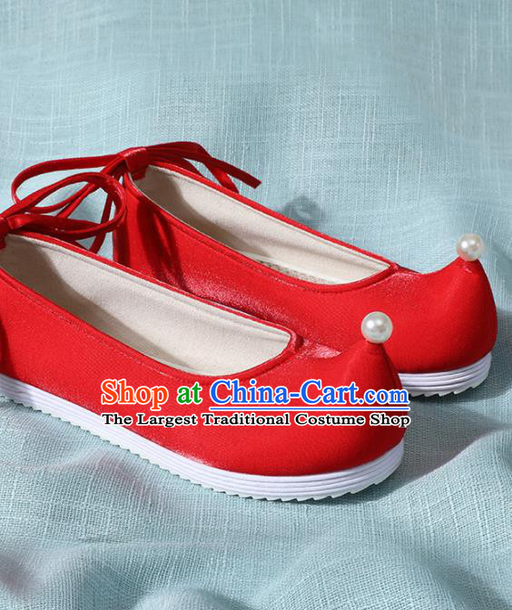 Chinese Handmade Pearl Red Shoes Traditional Ming Dynasty Hanfu Shoes Princess Shoes for Women