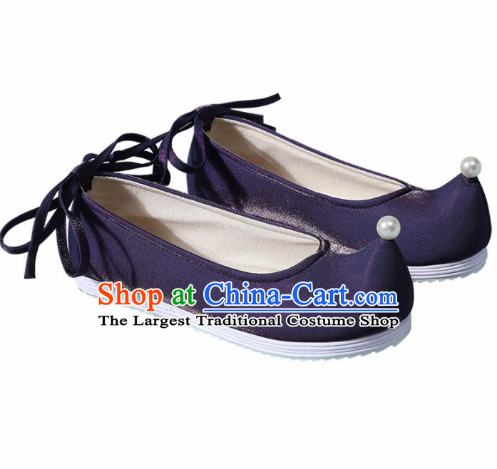 Chinese Handmade Pearl Navy Shoes Traditional Ming Dynasty Hanfu Shoes Princess Shoes for Women