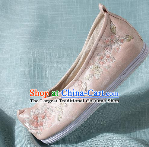 Chinese Handmade Embroidered Lotus Pink Bow Shoes Traditional Ming Dynasty Hanfu Shoes Princess Shoes for Women
