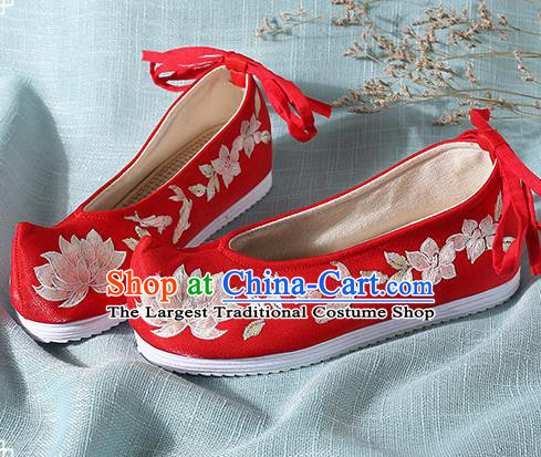Chinese Handmade Embroidered Lotus Red Bow Shoes Traditional Ming Dynasty Hanfu Shoes Princess Shoes for Women