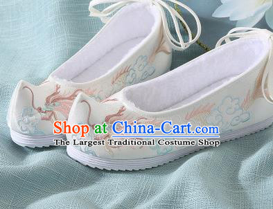 Chinese Handmade Embroidered Dragon Beige Bow Shoes Traditional Ming Dynasty Hanfu Shoes Princess Shoes for Women