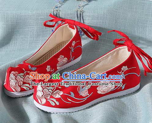 Chinese Handmade Embroidered Peony Butterfly Red Bow Shoes Traditional Ming Dynasty Hanfu Shoes Princess Shoes for Women