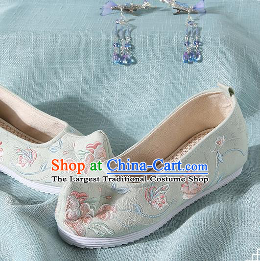 Chinese Handmade Embroidered Peony Butterfly Light Green Bow Shoes Traditional Ming Dynasty Hanfu Shoes Princess Shoes for Women