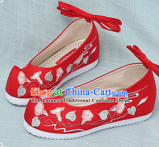 Chinese Handmade Embroidered Petunia Red Bow Shoes Traditional Ming Dynasty Hanfu Shoes Princess Shoes for Women