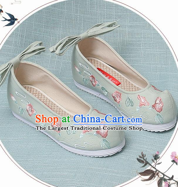 Chinese Handmade Embroidered Petunia Green Bow Shoes Traditional Ming Dynasty Hanfu Shoes Princess Shoes for Women