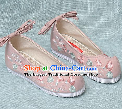 Chinese Handmade Embroidered Petunia Pink Bow Shoes Traditional Ming Dynasty Hanfu Shoes Princess Shoes for Women