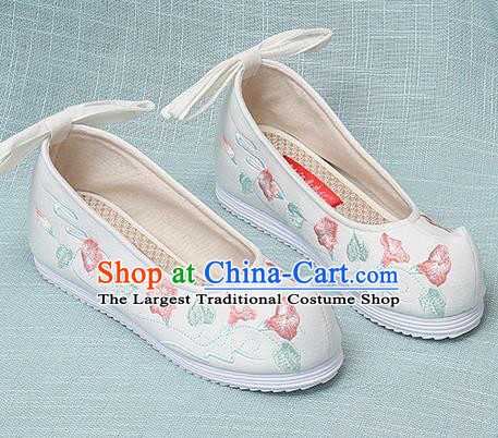 Chinese Handmade Embroidered Petunia White Bow Shoes Traditional Ming Dynasty Hanfu Shoes Princess Shoes for Women