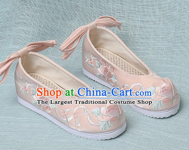 Chinese Handmade Embroidered Peony Pink Bow Shoes Traditional Ming Dynasty Hanfu Shoes Princess Shoes for Women