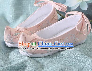 Chinese Handmade Embroidered Dragon Pink Bow Shoes Traditional Ming Dynasty Hanfu Shoes Princess Shoes for Women
