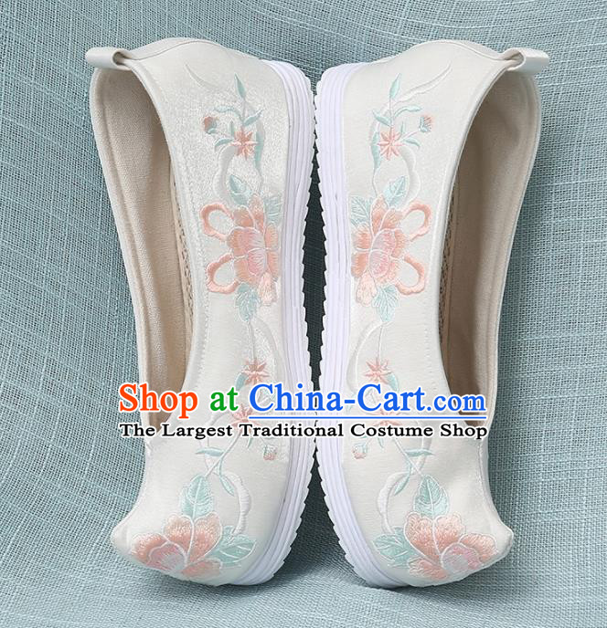 Chinese Handmade Embroidered Peony Beige Bow Shoes Traditional Ming Dynasty Hanfu Shoes Princess Shoes for Women