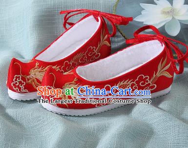 Chinese Handmade Embroidered Dragon Red Bow Shoes Traditional Ming Dynasty Hanfu Shoes Princess Shoes for Women