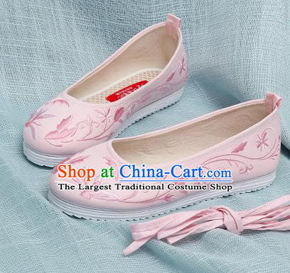 Chinese Handmade Embroidered Pink Cloth Shoes Traditional Ming Dynasty Hanfu Shoes Princess Shoes for Women