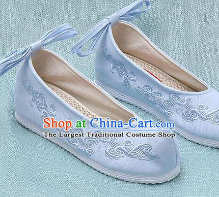 Chinese Handmade Embroidered Cloud Blue Bow Shoes Traditional Ming Dynasty Hanfu Shoes Princess Shoes for Women