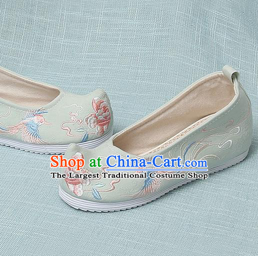 Chinese Handmade Embroidered Bird Peony Light Green Bow Shoes Traditional Ming Dynasty Hanfu Shoes Princess Shoes for Women