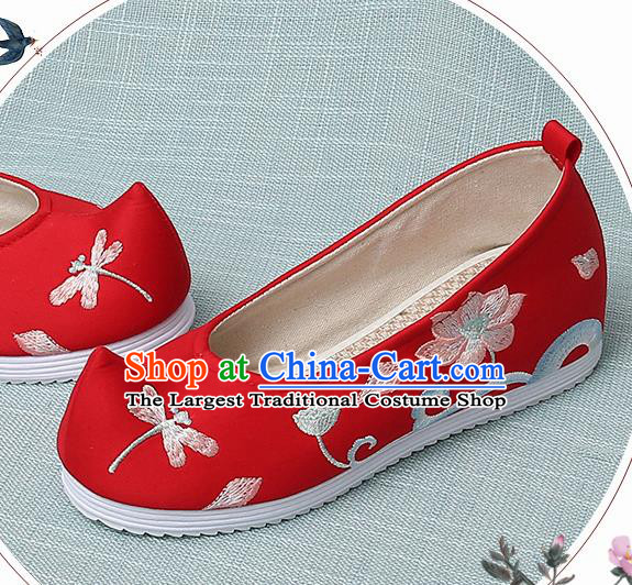 Chinese Handmade Embroidered Dragonfly Lotus Red Bow Shoes Traditional Ming Dynasty Hanfu Shoes Princess Shoes for Women