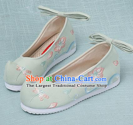 Chinese Handmade Embroidered Dragonfly Lotus Light Green Bow Shoes Traditional Ming Dynasty Hanfu Shoes Princess Shoes for Women