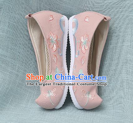 Chinese Handmade Embroidered Dragonfly Lotus Pink Bow Shoes Traditional Ming Dynasty Hanfu Shoes Princess Shoes for Women