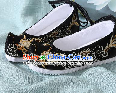 Chinese Handmade Embroidered Dragon Black Bow Shoes Traditional Ming Dynasty Hanfu Shoes Princess Shoes for Women