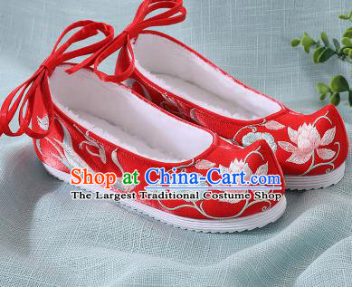 Chinese Handmade Embroidered Lotus Fish Red Bow Shoes Traditional Ming Dynasty Hanfu Shoes Princess Shoes for Women