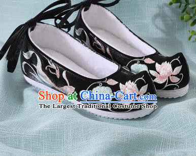 Chinese Handmade Embroidered Lotus Fish Black Bow Shoes Traditional Ming Dynasty Hanfu Shoes Princess Shoes for Women