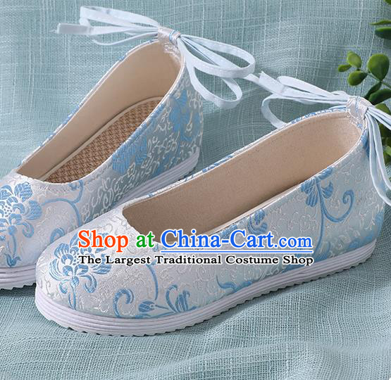 Chinese Handmade Blue Brocade Shoes Traditional Ming Dynasty Hanfu Shoes Princess Shoes for Women