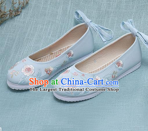 Chinese Handmade Embroidered Blue Shoes Traditional Ming Dynasty Hanfu Shoes Princess Shoes for Women