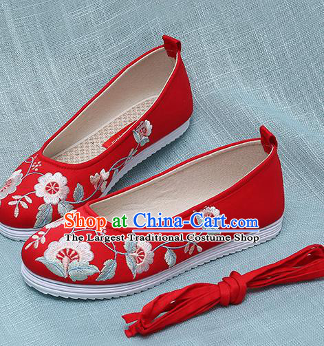 Chinese Handmade Embroidered Red Shoes Traditional Ming Dynasty Hanfu Shoes Princess Shoes for Women