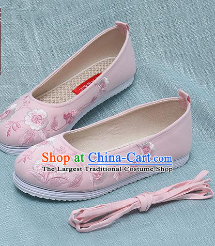 Chinese Handmade Embroidered Pink Shoes Traditional Ming Dynasty Hanfu Shoes Princess Shoes for Women