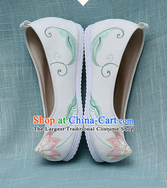 Chinese Handmade Embroidered Lotus White Bow Shoes Traditional Ming Dynasty Hanfu Shoes Princess Shoes for Women