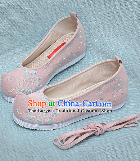 Chinese Handmade Embroidered Butterfly Pink Bow Shoes Traditional Ming Dynasty Hanfu Shoes Princess Shoes for Women
