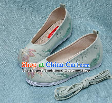Chinese Handmade Embroidered Lotus Green Bow Shoes Traditional Ming Dynasty Hanfu Shoes Princess Shoes for Women