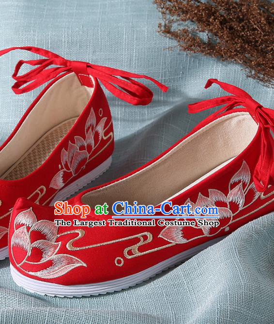 Chinese Handmade Embroidered Lotus Red Cloth Bow Shoes Traditional Ming Dynasty Hanfu Shoes Princess Shoes for Women