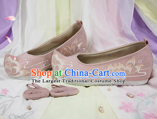 Chinese Handmade Embroidered Lotus Pink Cloth Bow Shoes Traditional Ming Dynasty Hanfu Shoes Princess Shoes for Women