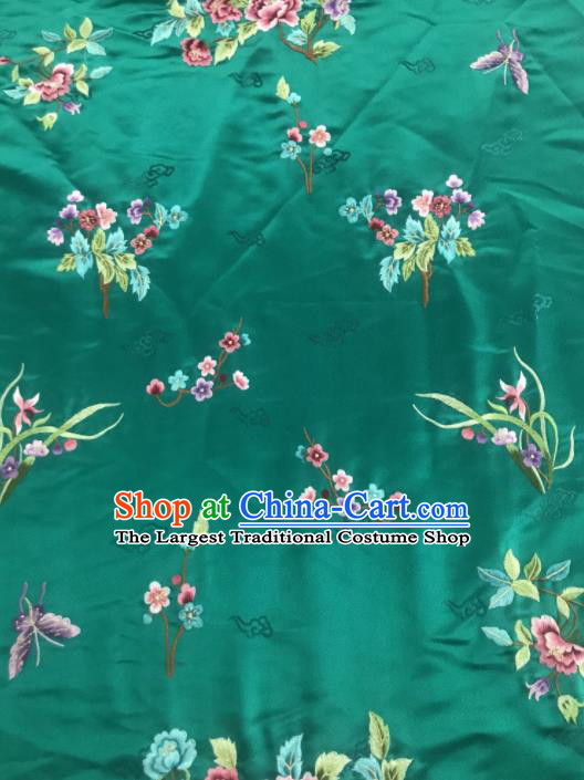 Chinese Traditional Embroidered Orchid Peony Pattern Design Green Silk Fabric Asian China Hanfu Silk Material