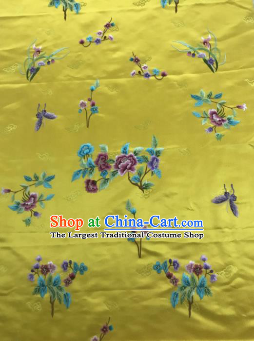 Chinese Traditional Embroidered Orchid Peony Pattern Design Yellow Silk Fabric Asian China Hanfu Silk Material