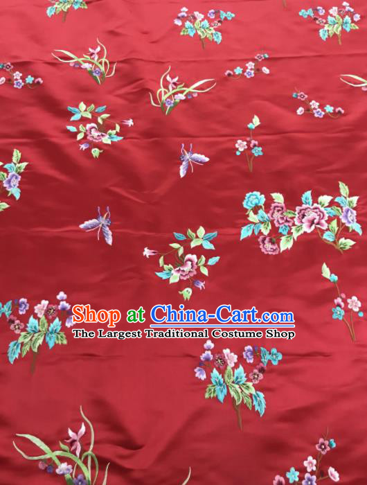 Chinese Traditional Embroidered Butterfly Peony Pattern Design Red Silk Fabric Asian China Hanfu Silk Material
