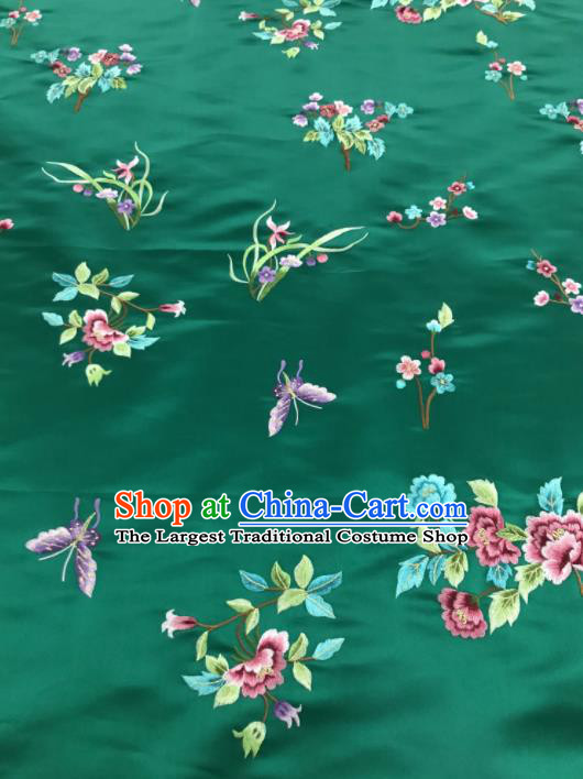 Chinese Traditional Embroidered Butterfly Peony Pattern Design Green Silk Fabric Asian China Hanfu Silk Material