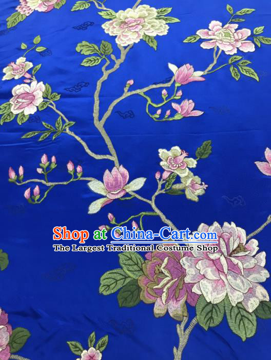 Chinese Traditional Embroidered Yulan Magnolia Pattern Design Royalblue Silk Fabric Asian China Hanfu Silk Material