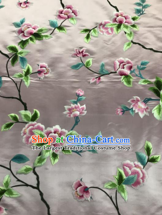 Chinese Traditional Embroidered Lily Flowers Pattern Design Pink Silk Fabric Asian China Hanfu Silk Material