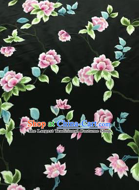 Chinese Traditional Embroidered Lily Flowers Pattern Design Black Silk Fabric Asian China Hanfu Silk Material