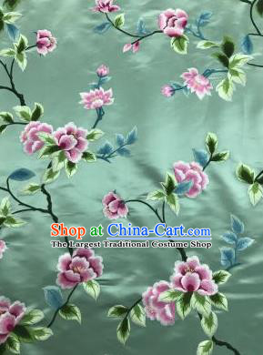 Chinese Traditional Embroidered Lily Flowers Pattern Design Light Green Silk Fabric Asian China Hanfu Silk Material