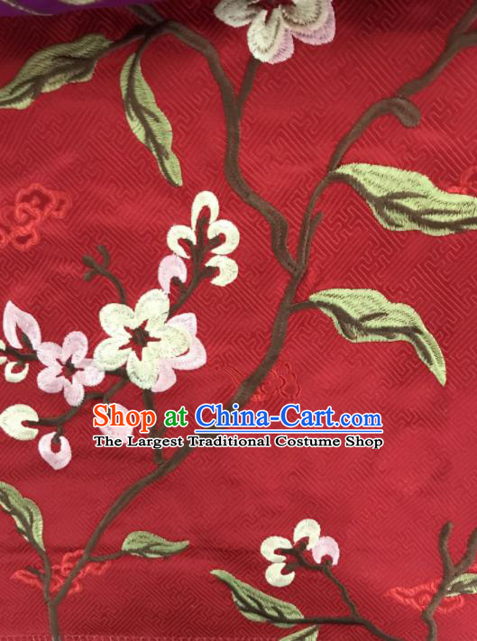 Chinese Traditional Embroidered Flowers Pattern Design Red Silk Fabric Asian China Hanfu Silk Material
