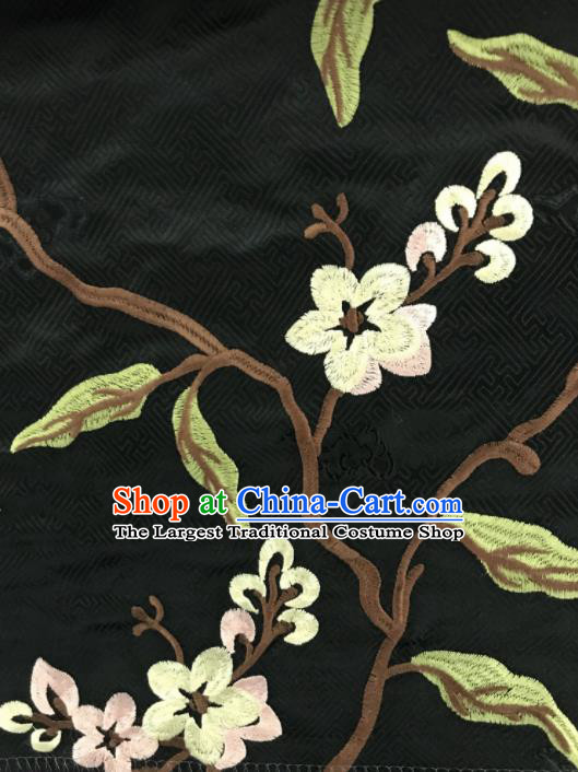 Chinese Traditional Embroidered Flowers Pattern Design Black Silk Fabric Asian China Hanfu Silk Material