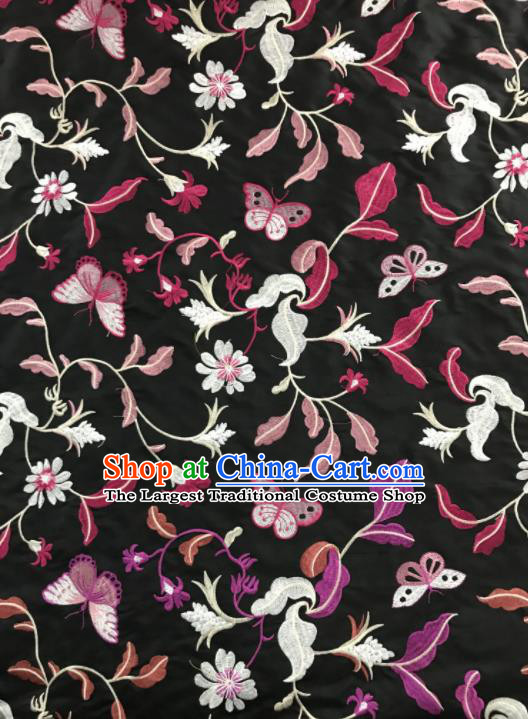 Chinese Traditional Embroidered Grass Butterfly Pattern Design Black Silk Fabric Asian China Hanfu Silk Material