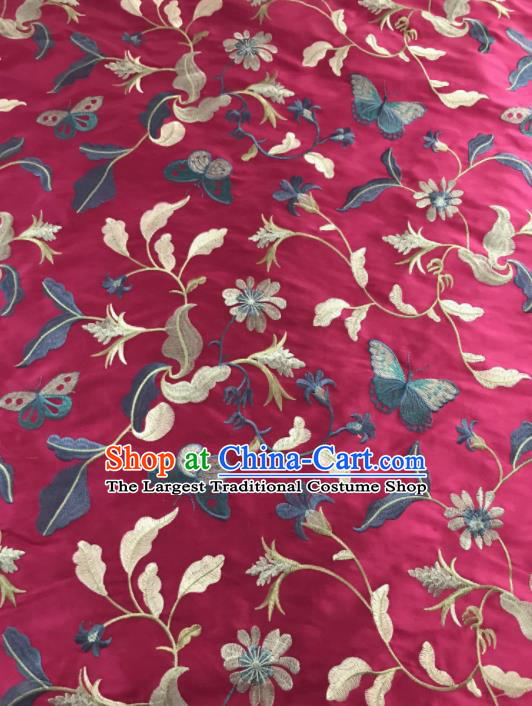 Chinese Traditional Embroidered Grass Butterfly Pattern Design Rosy Silk Fabric Asian China Hanfu Silk Material