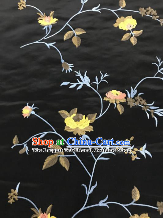 Chinese Traditional Embroidered Vine Flowers Pattern Design Black Silk Fabric Asian China Hanfu Silk Material