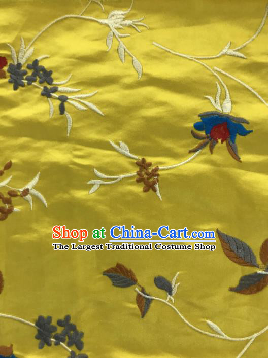 Chinese Traditional Embroidered Vine Flowers Pattern Design Yellow Silk Fabric Asian China Hanfu Silk Material