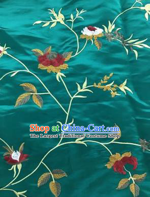 Chinese Traditional Embroidered Vine Flowers Pattern Design Green Silk Fabric Asian China Hanfu Silk Material