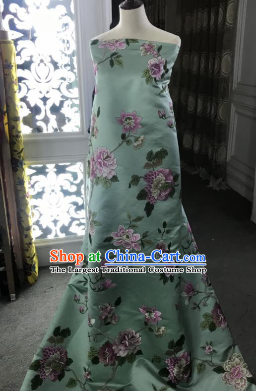 Chinese Traditional Embroidered Peony Pattern Design Light Green Silk Fabric Asian China Hanfu Silk Material