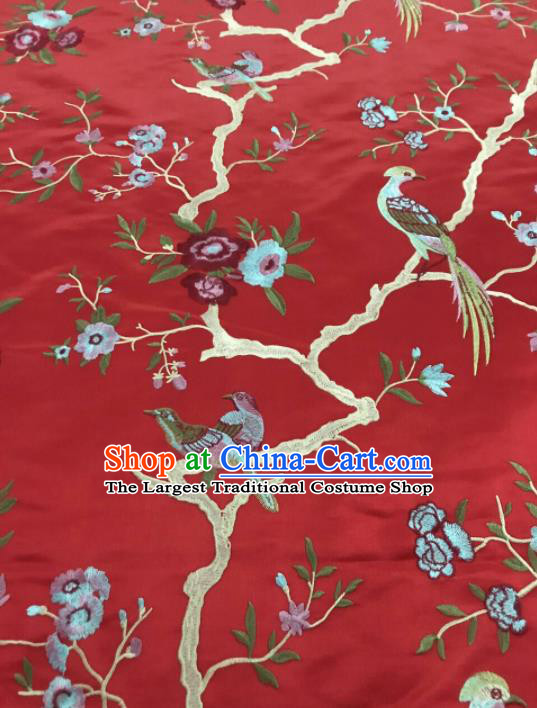 Chinese Traditional Embroidered Begonia Birds Pattern Design Red Silk Fabric Asian China Hanfu Silk Material